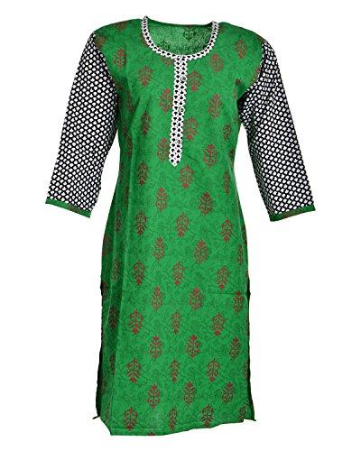 Global Women's Cotton Straight Kurta (GW59Green42015, Green, 42)