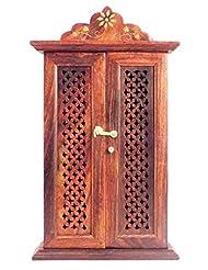 Crafts'man Wooden Wall Hanging Dobule Door Key Box Holder/rack/cabinet With Key Hooks
