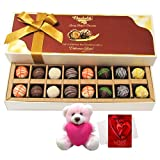Chocholik Luxury Chocolates - Tempting Collection Of Truffles With Teddy And Love Card