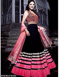 London Beauty New Black & Pink Designer Embroidered Anarkali Suit