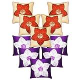 Laser Cut Flower Cushion Covers Combo Beige & Purple 40 X 40 Cms(10 Pcs Set)