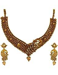 Graykart Meenakari Golden Colour Peacock Design Jewellery Set