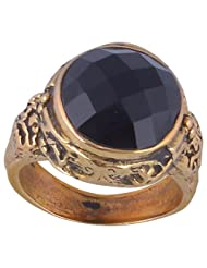 Metal Ring With Natural Black Onyx Stone