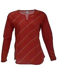 Go Lucknow Women's Cotton Regular Fit Kurti (GL-AM-196, Red, Large)