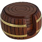 PMK Wooden Coaster , Barrel Shaped Holder With Round Coaster.