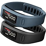 SKYLET Garmin Vivofit Replacement Bands With Metal Clasp 2 Secure Silicon Fastener Rings For Free No Tracker Black... - B01AJD0SZ4