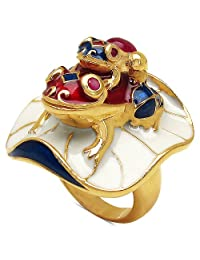 18.00 Grams Red Synthetic Stone & Ruby Gold Plated .925 Sterling Silver Frog Shape Blue, Red & White Enamel Ring