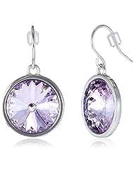 Covo Crystal Purple Rhodium Plated Hanging Drop Earrings For Women (Purple) (CSJERILPL23)