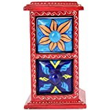 Rajkruti Wooden Handicraft Home Decor Blue Pottery Painted Drawer Box Showpiece (18 Cms X 10 Cms X 18 Cms, Multi-Color)