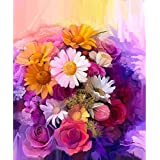Pitaara Box Still Life Of Yellow Red And Pink Color Flower - SMALL Size 12.0 Inch X 14.4 Inch - FRAMED CANVAS Wall Paintings With 6mm (0.24 Inch) THICK MDF MOUNTING FRAME : DIGITAL PRINT Wall Posters Art Panel Like Hand Paintings : Home Interior Wall D&ea