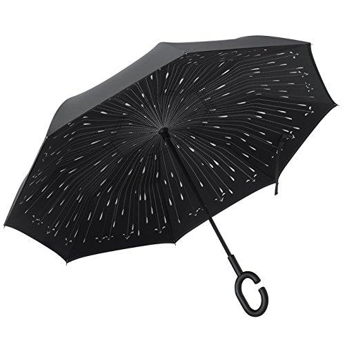 PLEMO Parapluie Canne, Parapluie Inversé, Double Couche Coupe-Vent, Mains Libres poignée en forme C, Idéal pour Voiture et Voyage, Noir Motif de Goutt...
