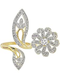 YouBella Jewellery Gold Plated American Diamond Adjustable Ring For Girls And Women
