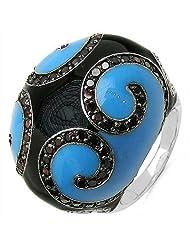 13.30Grams Red Cubic Zircon & White Cubic Zircon .925 Sterling Silver Blue & Black Enamel Ring