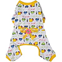 Imported Pet Dog Puppy Cotton Clothes Soft Pajamas Cartoon Jumpsuit Apparel Yellow XL