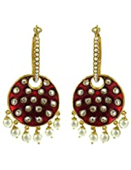 Beautiful Indian Bollywood Style Party Wear Pearl With Maroon Design Indian Fashion Earring Jewellery