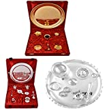 Gold Plated GL Pooja Thali Set,Silver Plated Royal Pooja Thali Set With Ganesh Laksmi And Silver Plated GL 10...