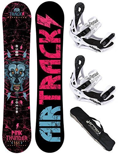 AIRTRACKS DAMEN SNOWBOARD SET / PINK THUNDER BOARD ZERO ROCKER + BINDUNG SAVAGE W + SB BAG / 144 150 156 / cm