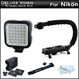 Deluxe LED Video Light + Video Stabilizer Kit For Nikon D90 Digital SLR Camera Includes Deluxe Video Bracket Action Stabilizing Handle + Deluxe LED Video Light Kit With Support Bracket + 2 Li-Ion Batteries And Charger (For The Light) + More