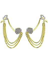 Zeneme Valentine Special American Diamond Gold Plated Designer Hanging Ear Cuff Earring Jewellery For Women /...