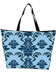 Snoogg Blue Leafy Pattern Designer Waterproof Bag Made Of High Strength Nylon