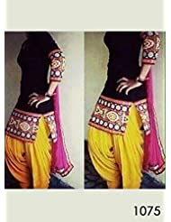 Rozdeal Online Shopping For Black And Yellow Patiyala Dress Material