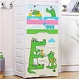 TheTickleToe DIY Thickened Plastic Cute Green Gator Cartoon Chest Of Drawers Closet Wardrobe Organizer Kids Boy Girl Room Baby Nursery Decor DIY 5 Layers Drawer With 2 Locks White