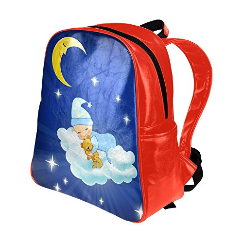 Cloud Moon Child Doll Unisex-child Red School Bag Shoulder Bag Backpack