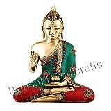 Gorgeous 1.2 Feet Large Buddha Statue , Gemstones Hand Work On Brass Buddhist Figure - Bansal Handicrafts