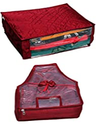 Kuber Industries Saree Cover & Blouse Cover In Maroon Satin Fabric