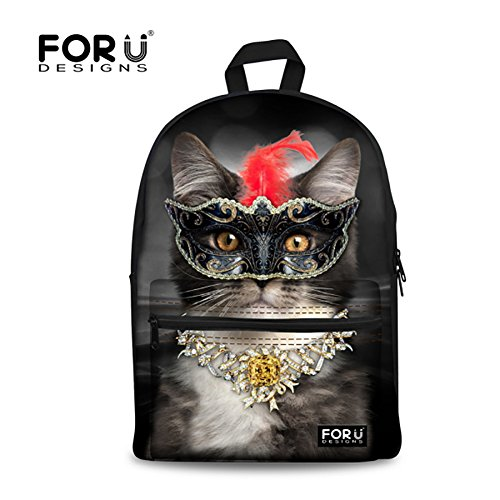 Backpack Schoolbag,FOR U DESIGNS Casual Daypack Cute CAT Fashion School Backpack Rucksack Back Pack Fits 15.6 inch Laptop (Black)