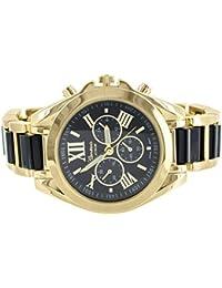 Bradshaw Gold Tone Watch MK Look Black Dial Links 2 Tone Womens Sleek Style