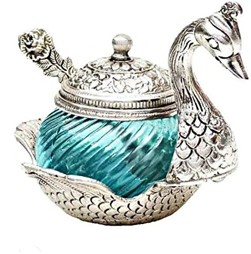 Jaipur Crafts Andcrafted Beautiful Elegant Duck Shaped Bowl - Silver And Turqoise Glass Decorative Platter