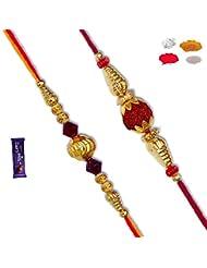 Premium Golden& Velvet Ball Bead Set Of Two Rakhi To India