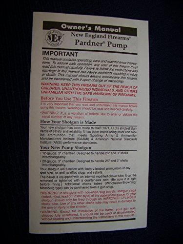 New England Firearms-Pardner Pump Shot Gun Manual