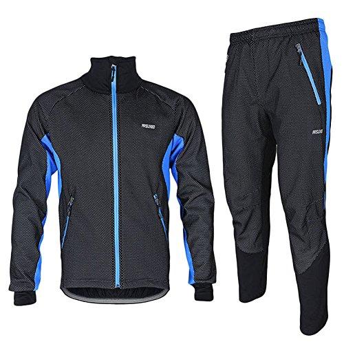 iPretty Set Chaquete Pantalones de Ciclismo Cortavientos Windstopper Buena Transpiración Térmico para Hombre Bike Wear Shell Zip-Off