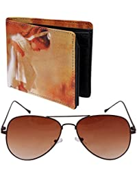 Attractive, Fashionable And Multicolour Genuine Leather Wallet With Brown Aviator - B01MTJ8SHQ