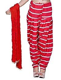 Rama Red & White Stripped Design Cotton Printed Full Patiala