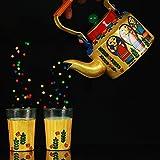 A Krazy Mug: Hand Painted Kettle With Set Of Two Glasses - Bengali Babushka /// Painted Tea Pot Steel, Tea Pot...