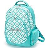 aBaby Sadie Backpack, Aqua, Name Amelia