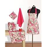 Swayam Grillz Printed Cotton 6 Piece Kitchen Linen Set - Pink (KS06-1428 )
