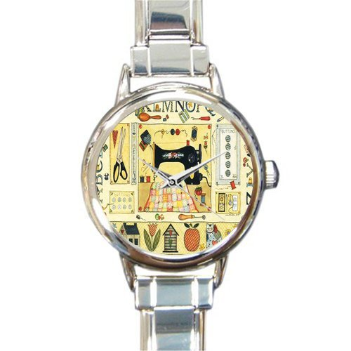 Old Sewing Machine Printing Stainless Steel Lady's Wrist Watch