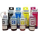 Epson Ink All Colors (T6641-B,T6642-C,T6643-M,T6644-Y) 70 Ml Each Compatible For L100/L110/L200/L210/L300/L350...