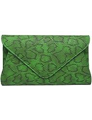 Super Drool Women Casual Green Leatherette Clutch - B01A9ZRNBY