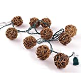 LIDORE®Brown Rattan Balls String Light Set Of 10 Warm White Light For Christmas Wedding Garden Patio And Party...