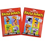 AsianHobbyCrafts Make-Your-Own Finger Puppets: Makes 4 Animal And 4 Dinosaur Puppets