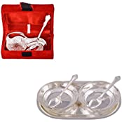 """Silver Plated Mini Duck Tray With Spoon And Silver Plated 2 5"""" Bowl With Spoon And Tray"""
