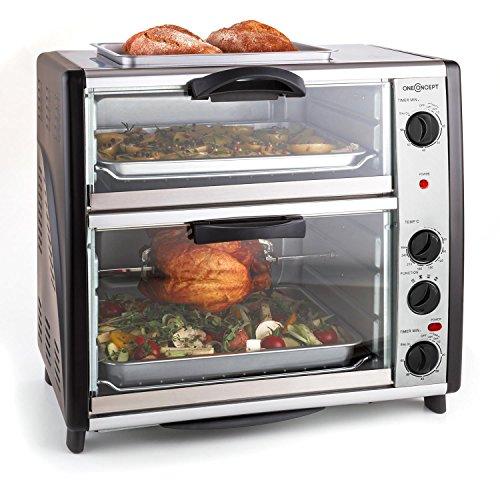 oneConcept All-You-Can-Eat - Four à double compartiment avec plaque de grill (capacité totale de 42L : 28L + 14L, grilles, tourne broche et plaques in...