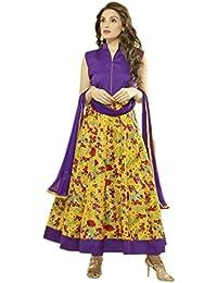 Aryan Fashion Designer New Purple & Black Bhagalpuri Silk Anarkali Suit For Women & Girls Party Wear For Girls...