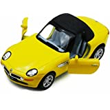 Bmw Z8 Soft Top & Open Top Convertible, Yellow With Black Top Kinsmart 5022/2 D 1/36 Scale Diecast Model Replica