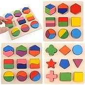 3pcs Wooden Math Geometry Block Puzzle Montessori Intellective Preschool Toy